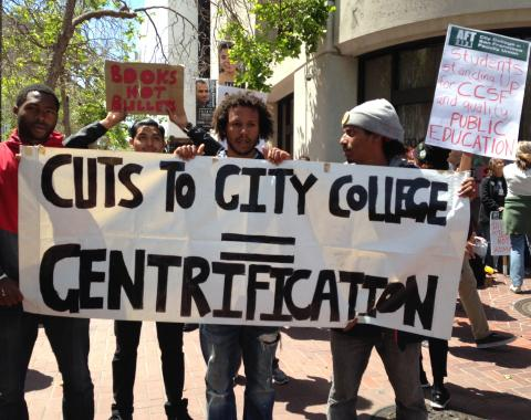 City College students support their teachers and connect the dots at the rally supporting the April 2016 faculty strike. ©2016 Marcy Rein