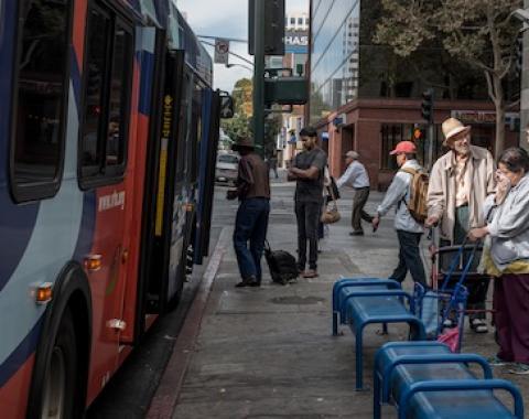 One of the busiest transit stops in San Jose, downtown on Santa Clara Street. ©2015 Tiburon
