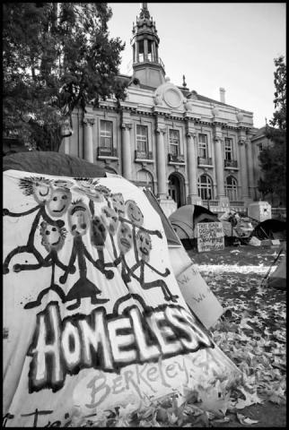 The camp outside the old Berkeley City Hall, called by the residents an occupation. It was a protest against the Berkeley City Council passing an anti-homeless ordinance.