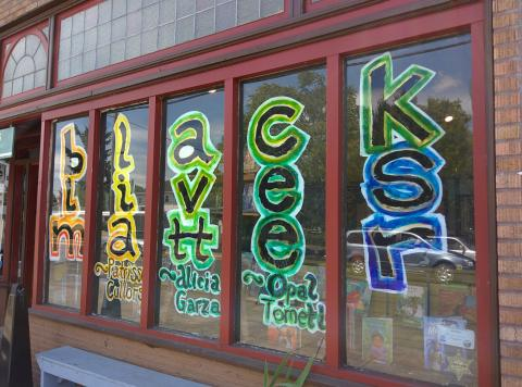 Window art highlighting the BLM cofounders in Portland, Oregon. cc. 2015 Travis Wise