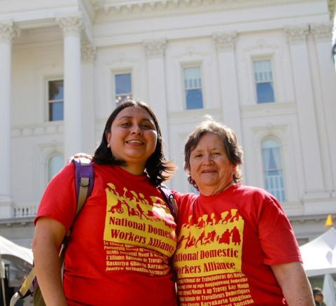 Two generation of domestic worker organizers and leaders: Claudia Reyes (left) has followed in the footsteps of her courageous mother, Maria Reyes (right).  Claudia is the lead organizer for the workers' rights program at MUA and played and important role in passing the Domestic Worker Bill of Rights in California.