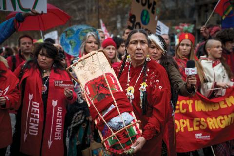 Indigenous Environmental Network delegation to Paris climate summit. ©2015 Allen Lissner/IEN