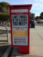 For-profit schools stand to gain from the downsizing of City College. Here, an ad on a kiosk for the CCSF newspaper. The other side of the kiosk displays a recruitment poster for the US Army. ©2016 Marcy Rein