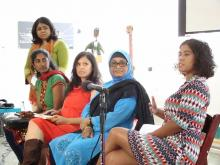 Panelists and organizers at the screening of the film Claiming Our Voice